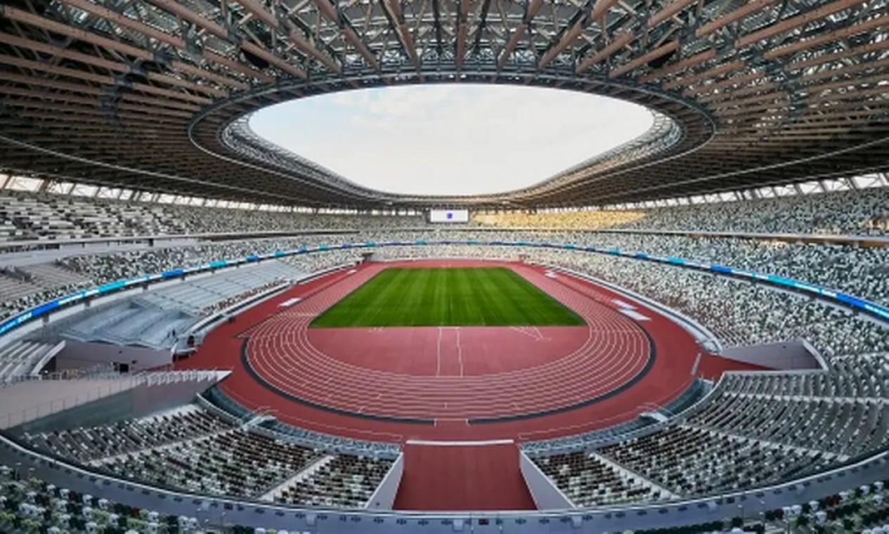 Usado nos Jogos de Tóquio 1964, o Estádio Olímpico foi reconstruído para as Olimpíadas de 2020. Além de ser palco das cerimônias de abertura e encerramento, vai sediar partidas de futebol e o atletismo. Tem capacidade para 68 mil espectadores Foto: Divulgação