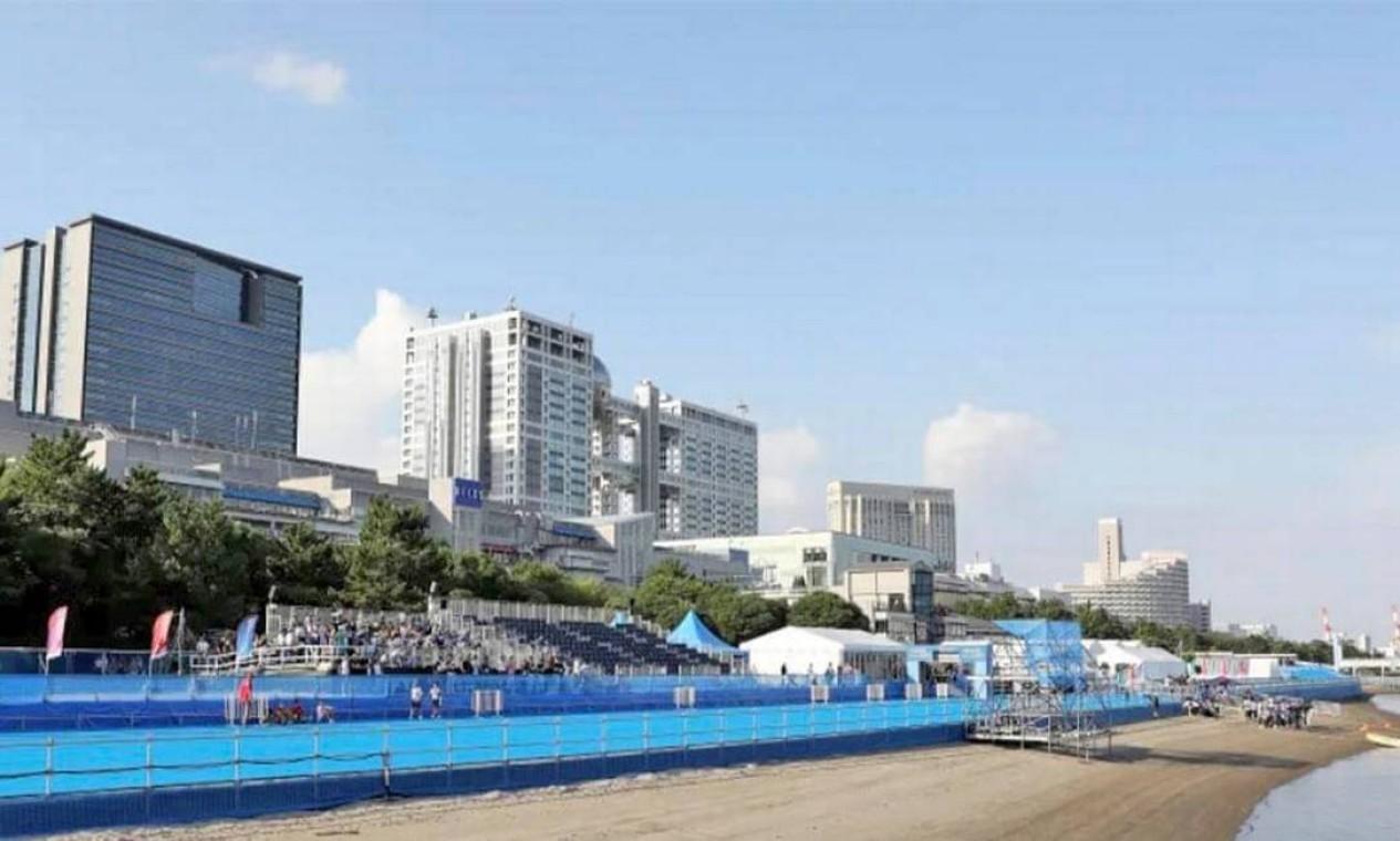 O Parque Marinho de Odaíba é uma instalação temporária para abrigar as modalidades de maratona aquática e triatlo. Pode receber até 5.500 pessoas Foto: Divulgação