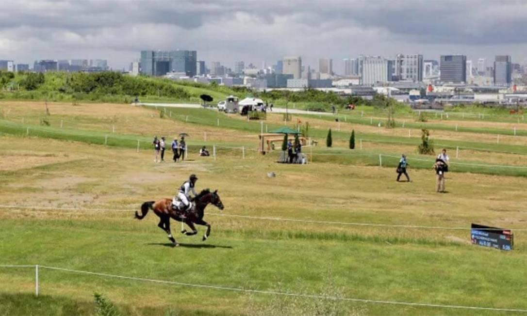 Em terreno com vista para a Baía de Tóquio, no Sea Forest Country Course, foi construído um percurso para a modalidade de cross country equestre. Pode receber 16 mil pessoas Foto: Divulgação