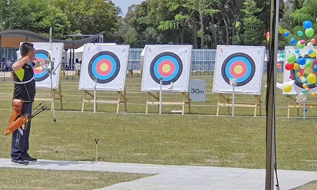 O campo de tiro com arco do Yumenoshima Park foi construído na área do parque do local da Dream Island. Após os Jogos, a instalação abrigará competições de arco e flecha e será usada para outras atividades. Sua capacidade é de 5.600 pessoas Foto: Divulgação