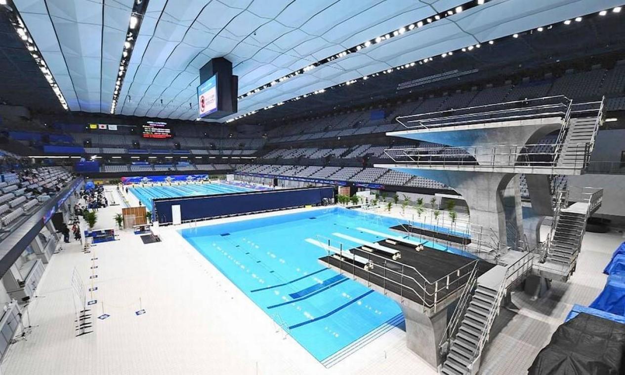 Recém-construído, o Centro Aquático de Tóquio vai sediar as provas de natação, nado sincronizado e saltos ornamentais. Possui capacidade para 15 mil pessoas Foto: Divulgação