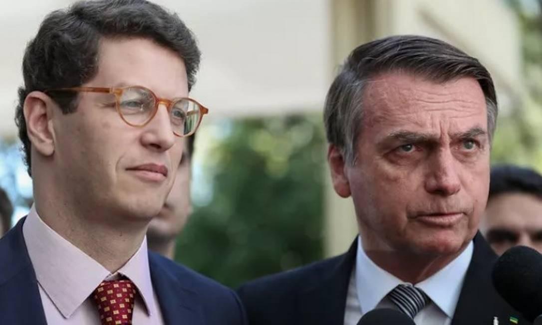 O ex-ministro do Meio Ambiente, Ricardo Salles, e o presidente Jair Bolsonaro Foto: Marcos Corrêa/PR/9-7-2019