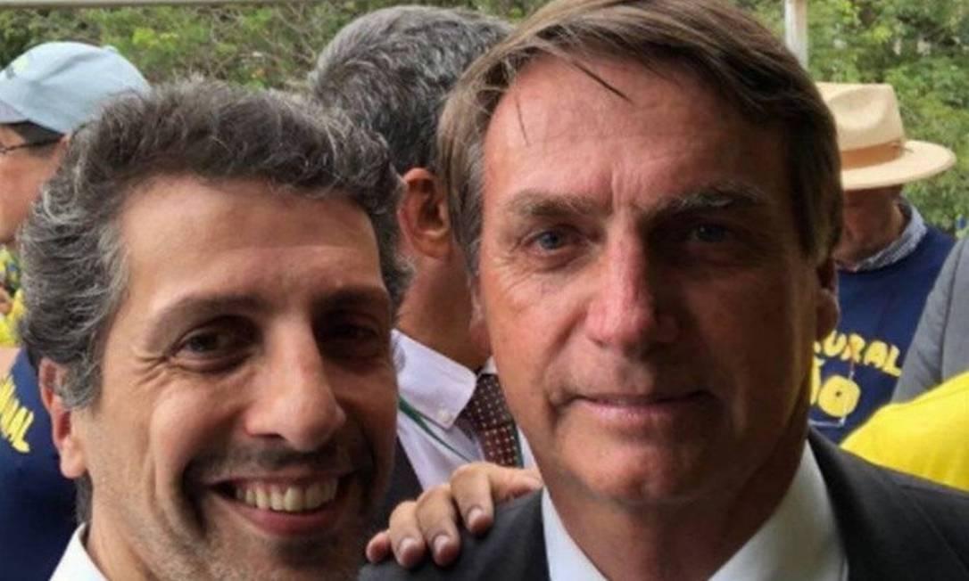 O ministro do Meio Ambiente, Joaquim Leite, e o presidente Jair Bolsonaro Foto: Reprodução