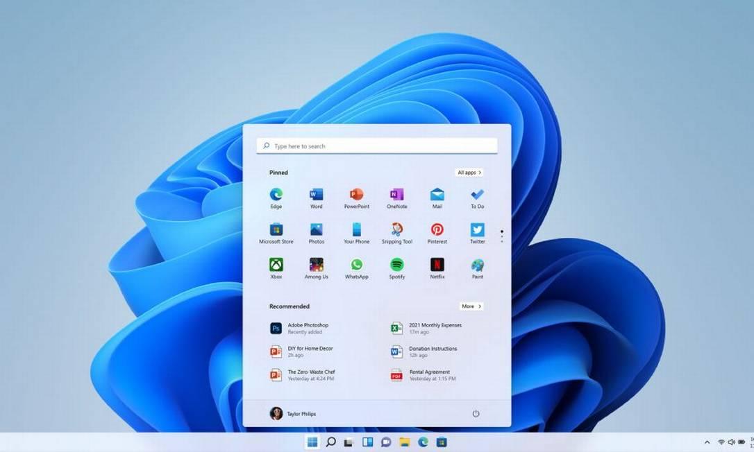 O novo menu Iniciar do Windows 11 Foto: Divulgação