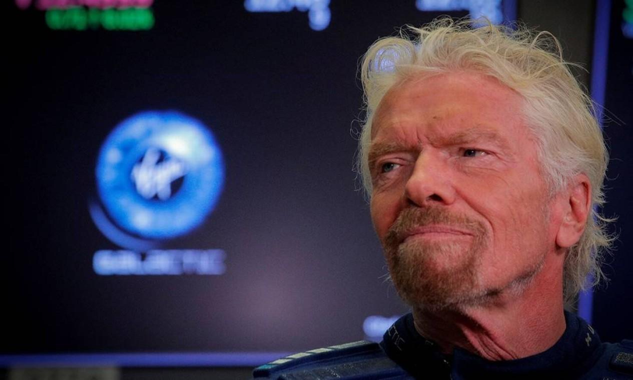 O bilionário sir Richard Branson largou na frente e voou ao espaço no domingo, dia 11 de julho, antes de Jeff Bezos, mas não chegou tão alto quanto o fundador da Amazon dissz que iria chegar Foto: BRENDAN MCDERMID / REUTERS