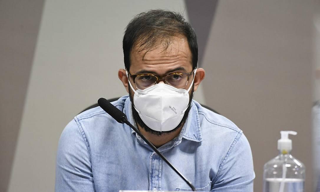 O servidor Luis Ricardo Miranda depõe à CPI da Covid Foto: Jefferson Rudy / Jefferson Rudy/Agência Senado