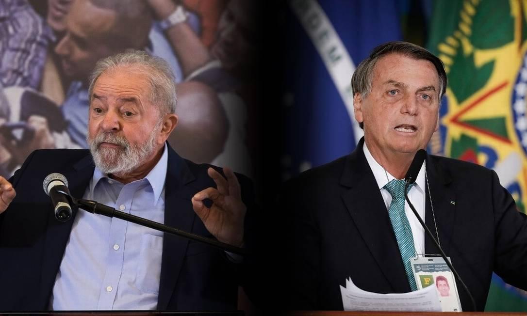 Ex-presidente Luiz Inácio Lula da Silva e presidente, Jair Bolsonaro Foto: O Globo