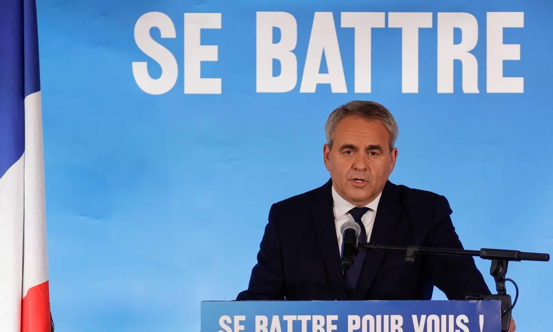Xavier Bertrand, candidato conservador que venceu na região de Altos de França na votação deste domingo Foto: PASCAL ROSSIGNOL / REUTERS