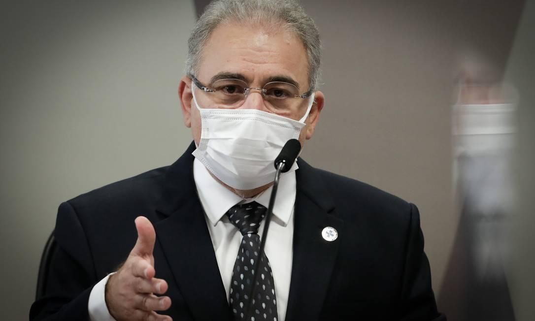 Marcelo Queiroga. Ministro da Saúde foi envolvido em anúncio sobre flexibilização de uso de máscaras na pandemia Foto: Agência O Globo/Pablo Jacob/8-6-2021
