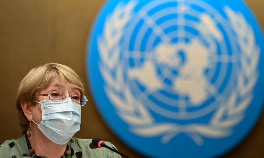 Alta comissária da ONU para os Direitos Humanos, Michelle Bachelet, durante pronunciamento na sessão de abertura do Conselho de Direitos Humanos da ONU Foto: FABRICE COFFRINI / AFP/21-6-21