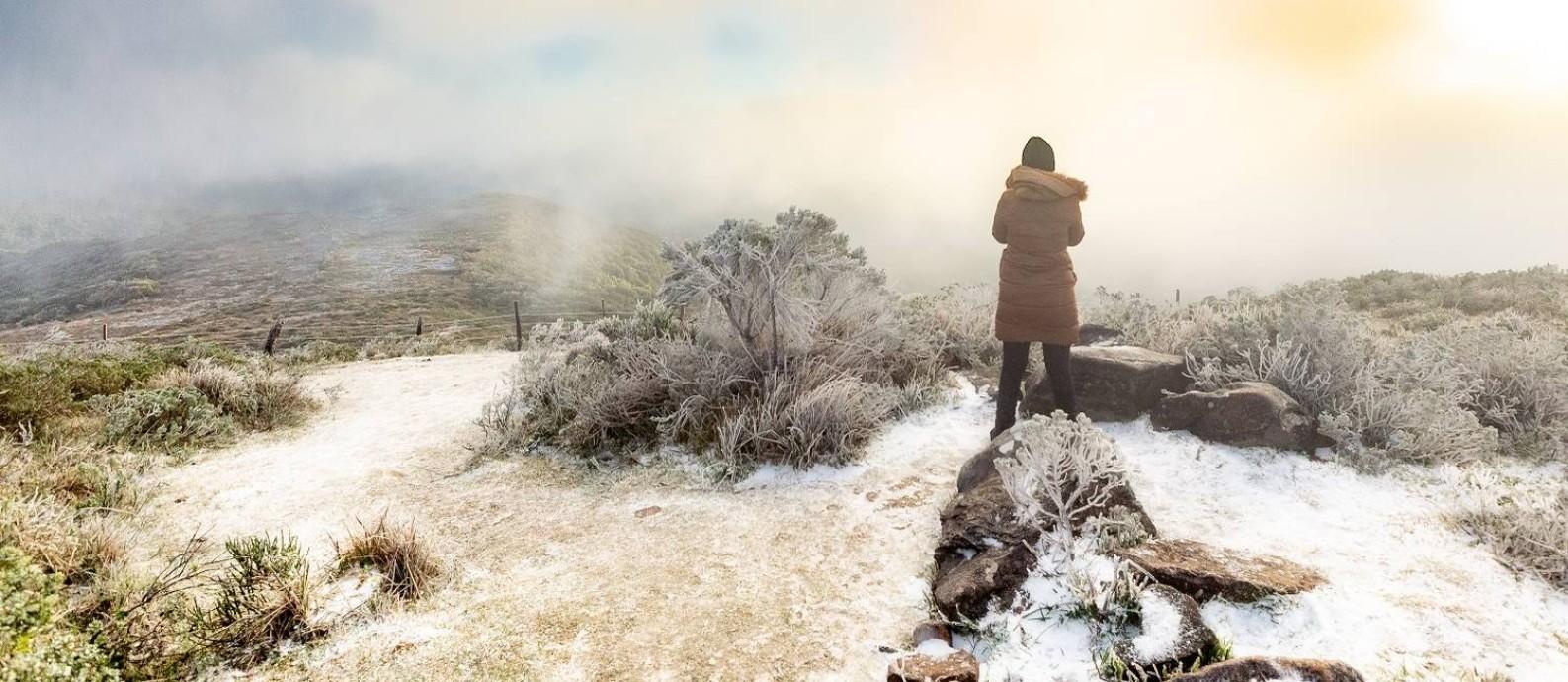 Registro de Urupema, na Serra Catarinense, na manhã de 29 de junho, quando os termômetros marcavam -7°C. Foto: Roger Fraga / Altos da Trilha / Divulgação