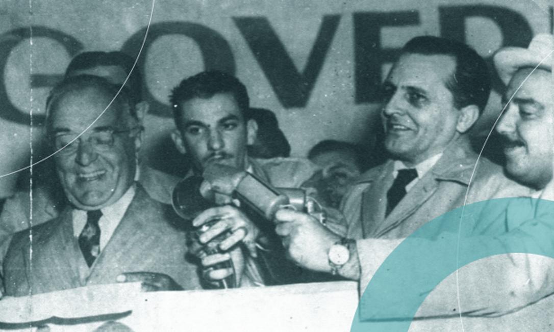 Vargas e Prestes em um comício em São Paulo: ex-ditador e ex-preso político juntos contra o governo Dutra / Crédito: Arquivo / Agência Globo