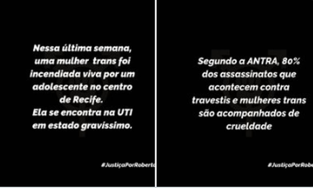 Caso de mulher trans queimada em Pernambuco reforçou indignação contra transfobia no país Foto: Twitter / Reprodução