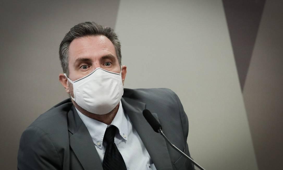 Luiz Paulo Dominguetti, que acusou governo de propina em compra de vacinas, depõe à CPI da Covid Foto: Pablo Jacob / Agência O Globo