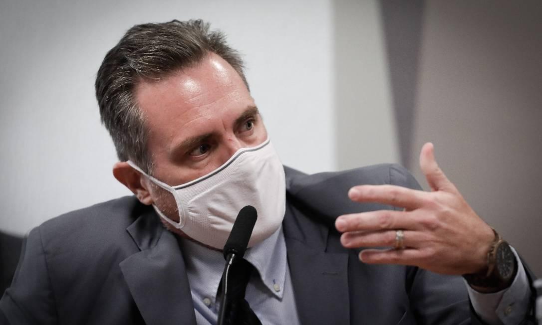 Luiz Paulo Dominguetti, que acusou governo de propina em compra de vacinas, depõe à CPI da Covid Foto: Pablo Jacob