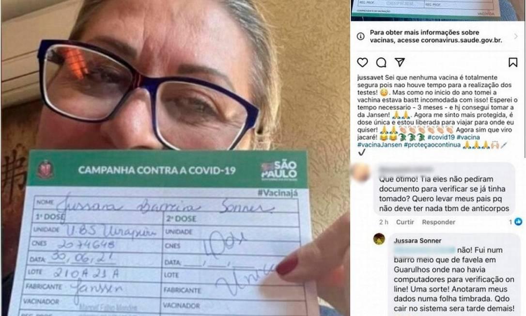 Post de veterinária que se imunizou contra Covid-19 pela segunda vez em menos de um ano repercutiu nas redes sociais Foto: Reprodução