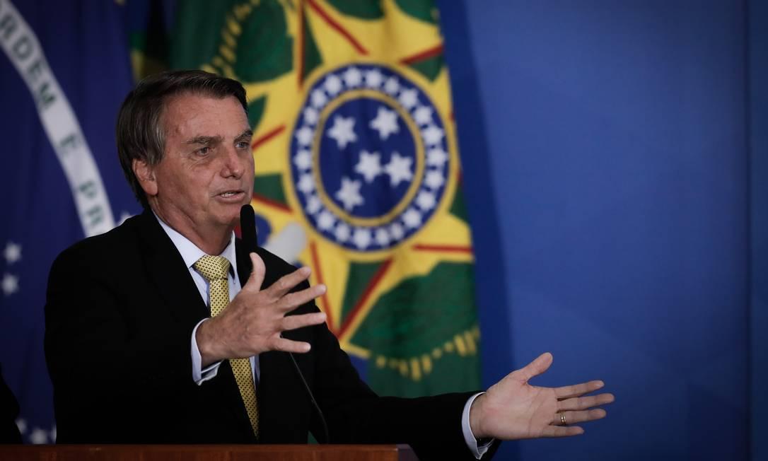 O presidente Jair Bolsonaro participa de cerimônia no Palácio do Planalto Foto: Pablo Jacob/Agência O Globo/29-06-2021