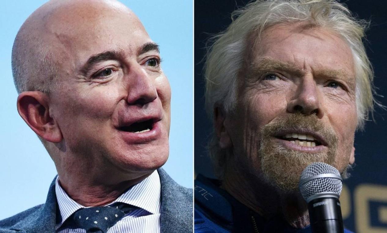 Os bilionários Jeff Bezos (à esq.) e Richard Branson (à dir.) minimizam que haja uma disputa espacial entre eles Foto: AFP