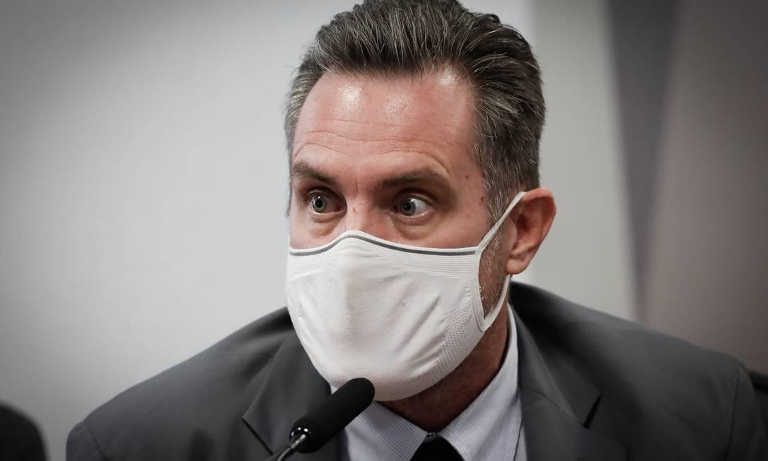Luiz Paulo Dominguetti Pereira durante depoimento na CPI da pandemia Foto: Pablo Jacob / O Globo