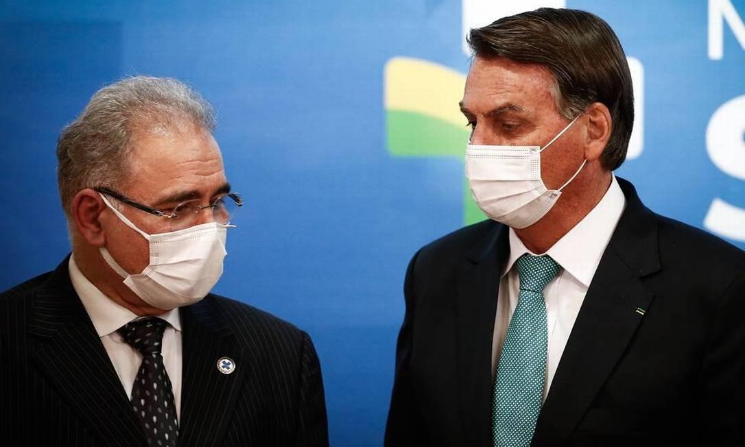 O ministro Marcelo Queiroga e o presidente Jair Bolsonaro Foto: Divulgação