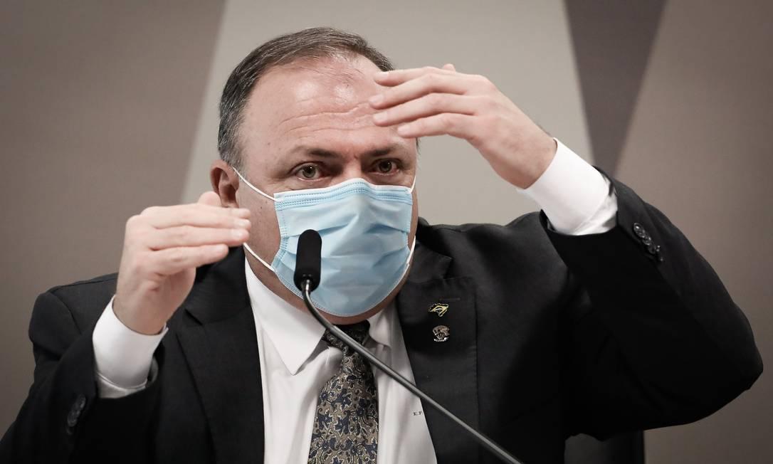 General Eduardo Pazuello, ex-ministro da Saúde, em depoimento à CPI da Covid, no Senado Foto: Pablo Jacob / Agência O Globo