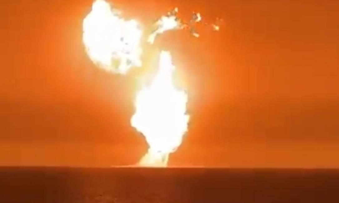 Incêndio no Mar Cáspio foi provocado por erupção de 'vulcão de lama' Foto: Reprodução