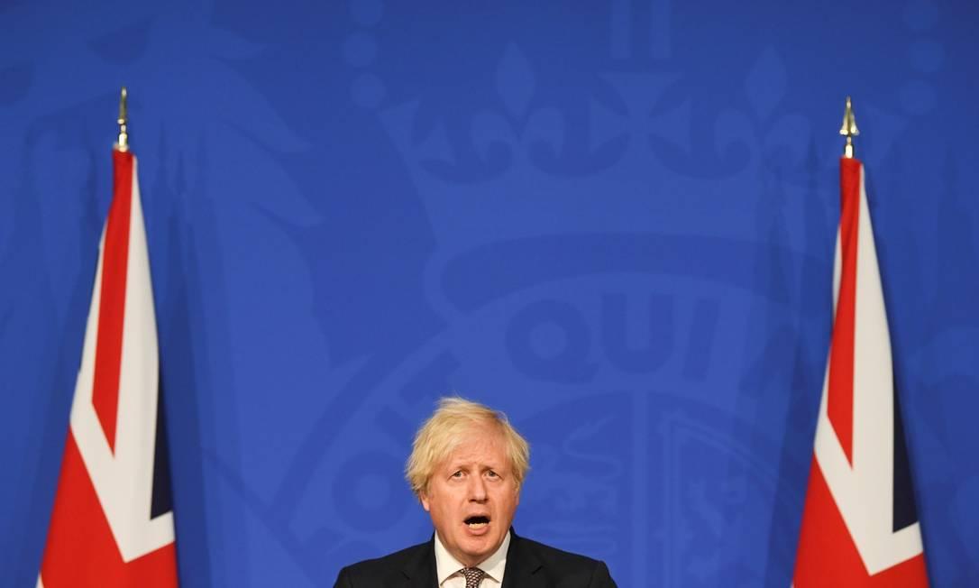 Premier Boris Johnson, durante entrevista coletiva em Londres Foto: POOL / REUTERS