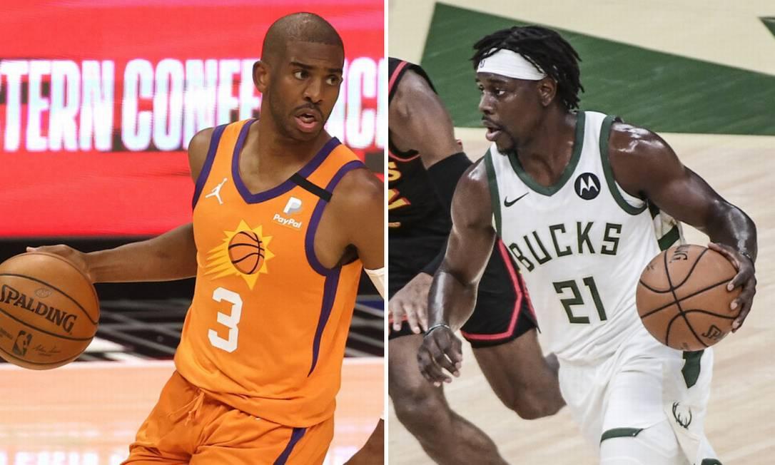 Chris Paul e Holiday são destaques de Suns e Bucks, respectivamente Foto: Ronald Martinez/Getty Images/AFP e Benny Sieu-USA TODAY Sports