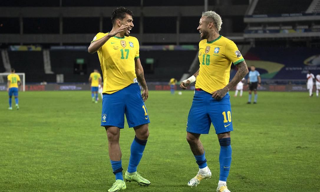 Lucas Paquetá e Neymar dançam após o gol sobre o Peru Foto: Lucas Figueiredo/CBF