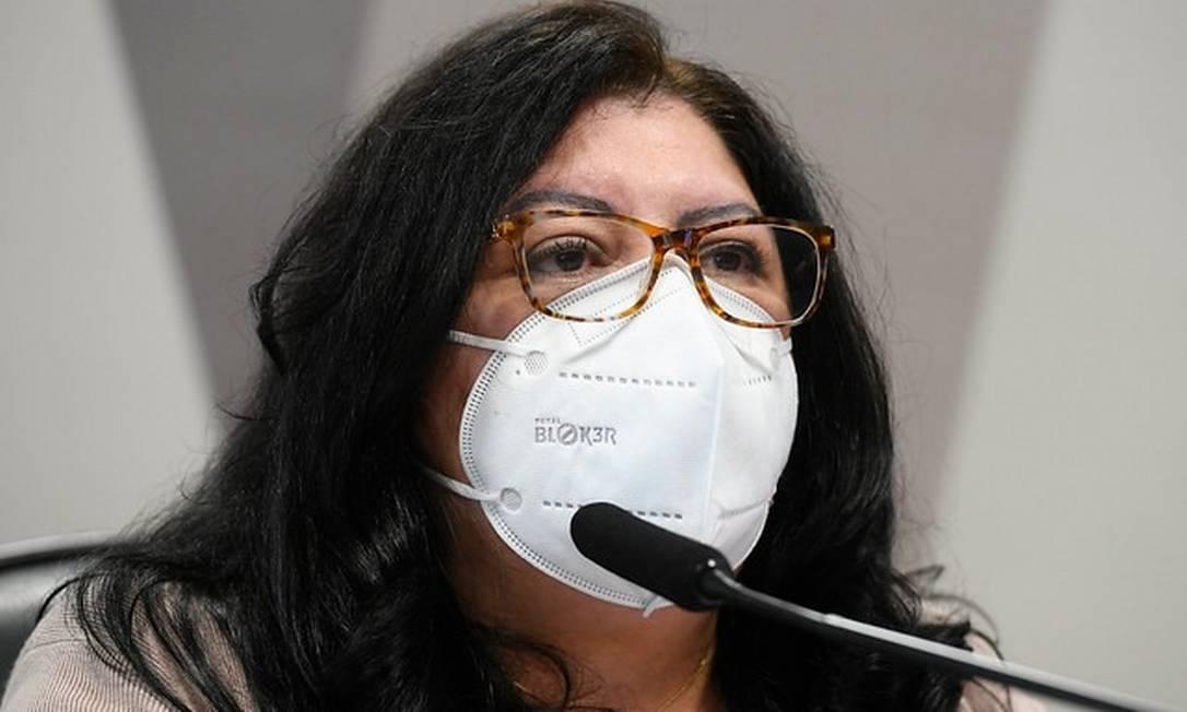 A servidora do Ministério da Saúde Regina Célia Silva Oliveira em depoimento à CPI da Covid Foto: Marcos Oliveira/Agência Senado