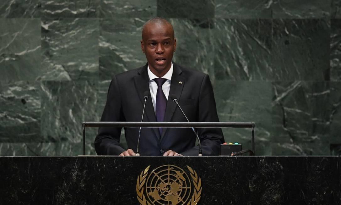 Jovenel Moïse, presidente do Haiti, durante discurso na Assembleia Geral da ONU, em 2018 Foto: TIMOTHY A. CLARY / AFP/27-9-2018