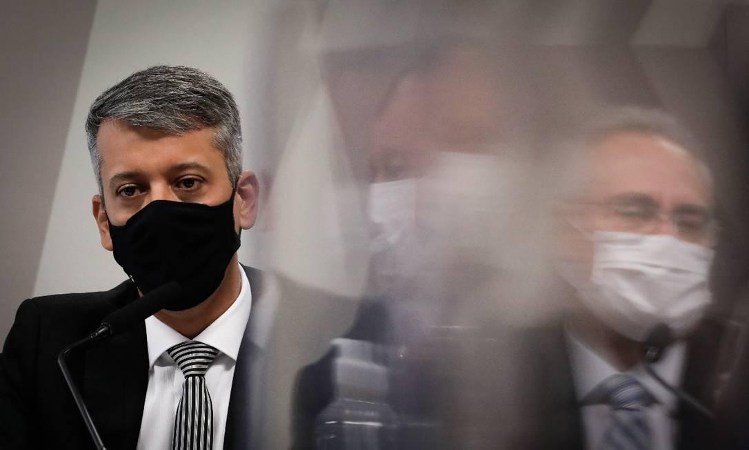 Ex-diretor do Ministério da Saúde Roberto Ferreira Dias depõe à CPI da Covid, no Senado Foto: Pablo Jacob / Agência O Globo