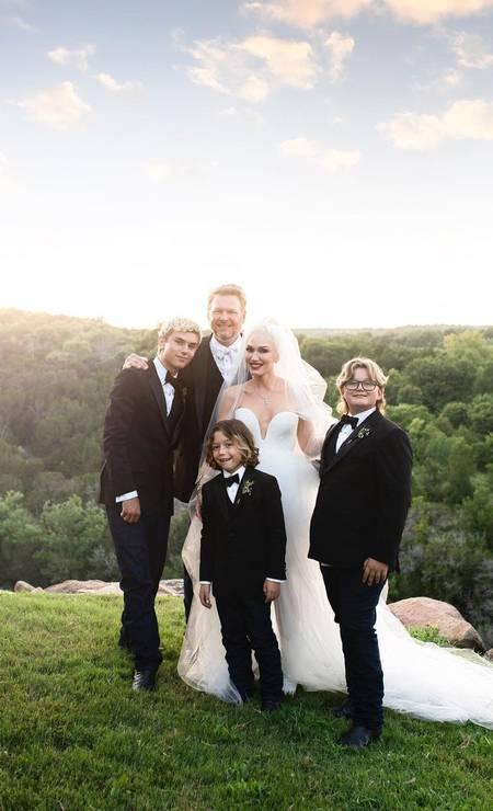 Gwen posa com o marido e os filhos Foto: Reprodução/Instagram