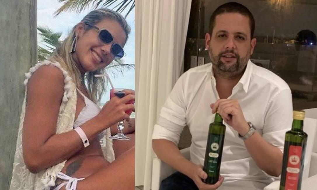 Júlia Lotufo e Eduardo Vinícius Giraldes Silva: viúva do miliciano Adriano da Nóbrega se casou com empresário que devia dinheiro ao ex-Bope Foto: Montagem de fotos de reprodução