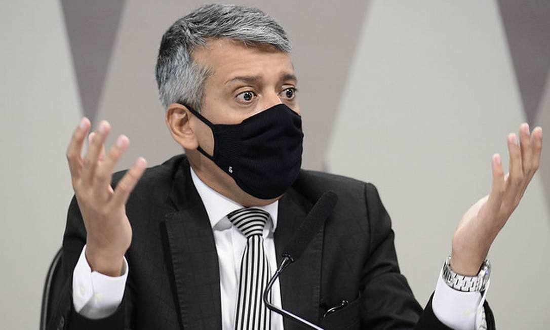 Ex-diretor do Departamento de Logística do Ministério da Saúde, Roberto Dias saiu preso da CPI da Covid Foto: Pedro França / Pedro França/Agência Senado
