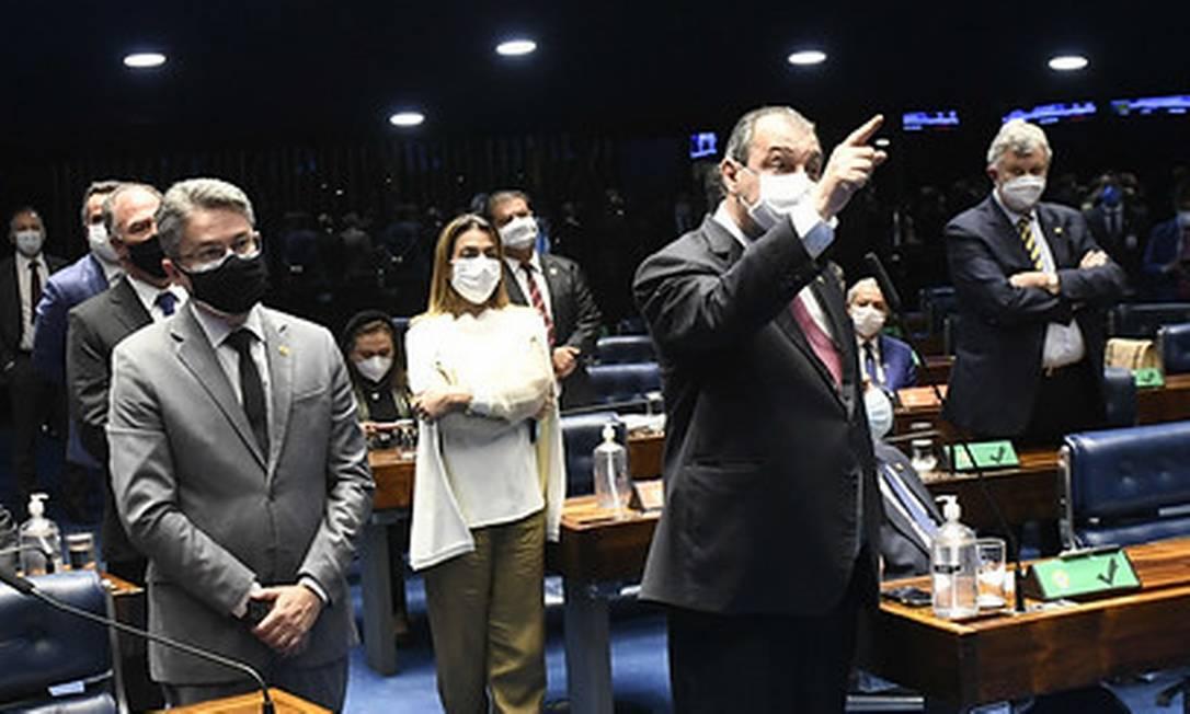 Presidente da CPI, Omar Aziz, reage ao Ministério da Defesa: 'Podem fazer 50 notas contra mim, só não me intimida' Foto: Jefferson Rudy/Agência Senado