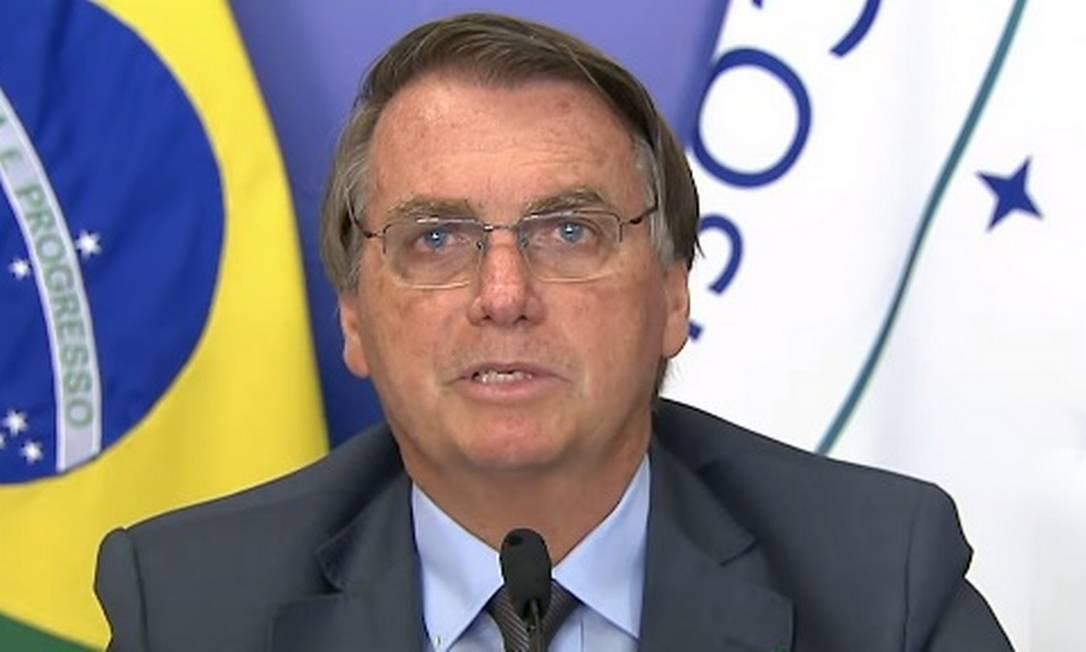 O presidente Jair Bolsonaro discursa durante cúpula do Mercosul Foto: Reprodução/TV Brasil
