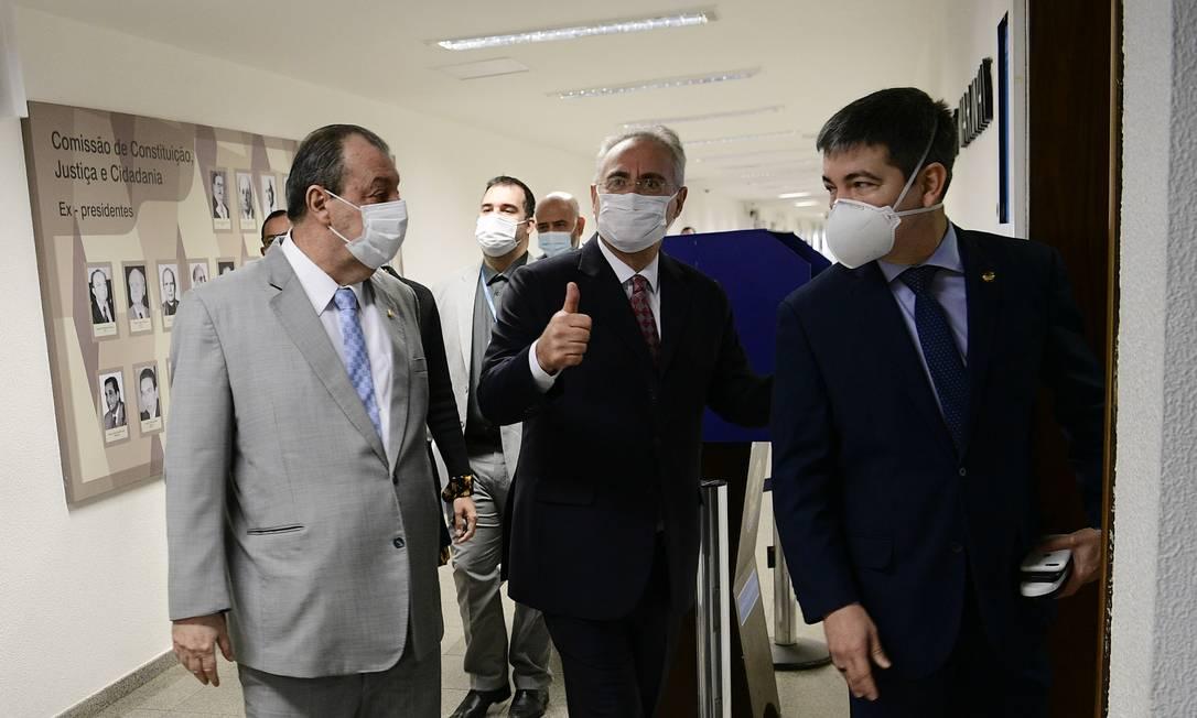 Os senadores Omar Aziz, Renan Calheiros e Randole Rodrigues na CPI da Covid Foto: Pedro França/Agência Senado