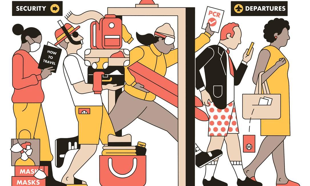Muitos viajantes 'enferrujados' só percebem que esqueceram o passaporte, ou que estão embarcando com itens proibidos, no ponto de segurança dos aeroportos Foto: Andrew Joyce / The New York Times