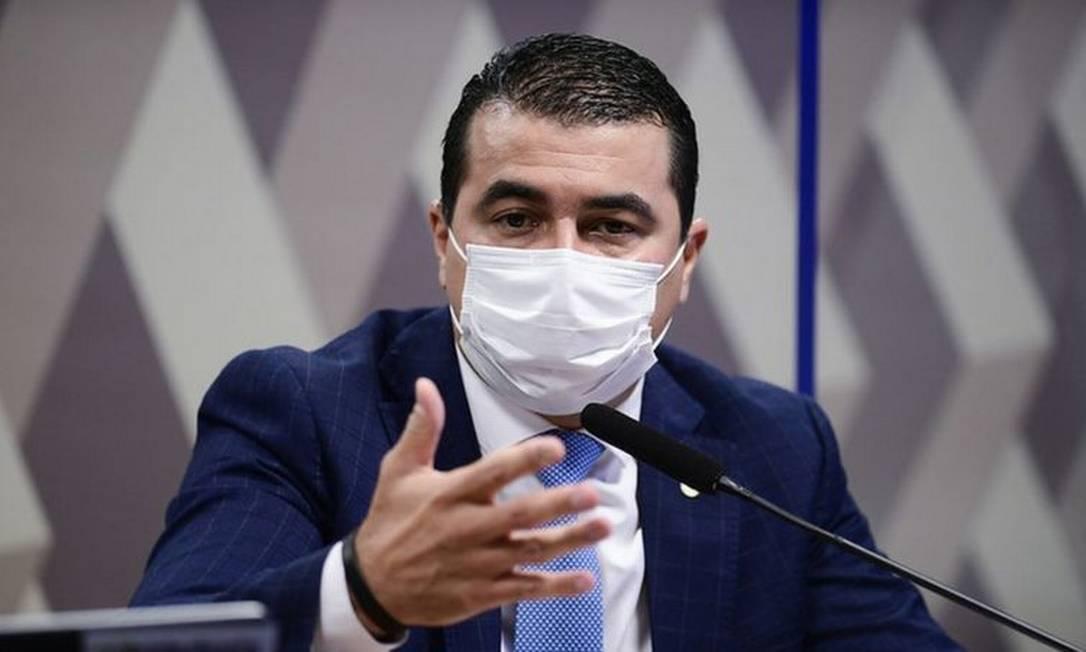 O deputado Luis Miranda no depoimento que prestou na CPI Foto: AGÊNCIA SENADO