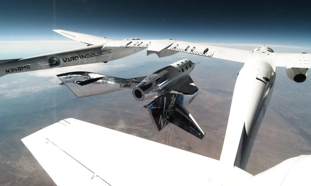 A espaçonave SpaceShipTwo Unity durante voo Foto: Divulgação