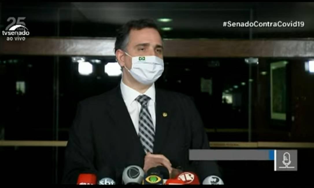 O presidente do Senado, Rodrigo Pacheco (DEM-MG) 09/07/2021 Foto: Reprodução