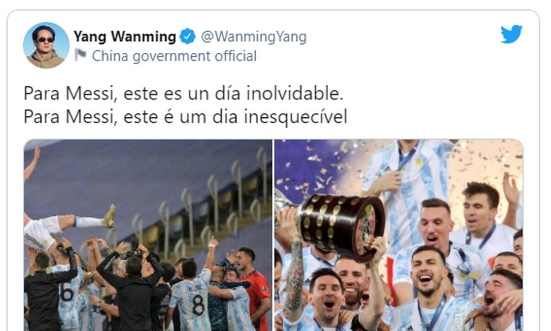 Embaixador da China posta sobre título da Argentina Foto: Reprodução