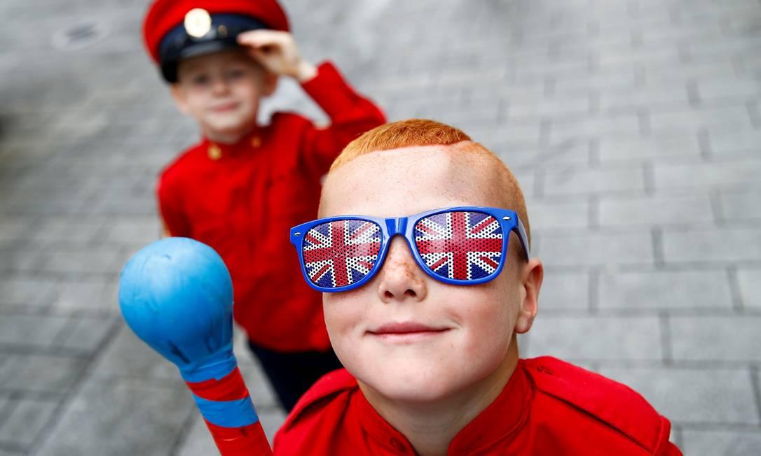 Crianças participam das celebrações sindicalistas em Belfast, Irlanda do Norte Foto: JASON CAIRNDUFF / REUTERS