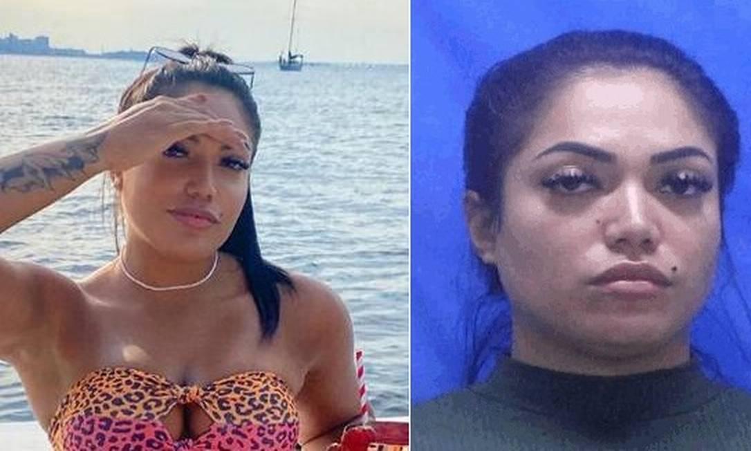 Rayane em foto em uma lancha e depois, fichada na delegacia Foto: Reprodução