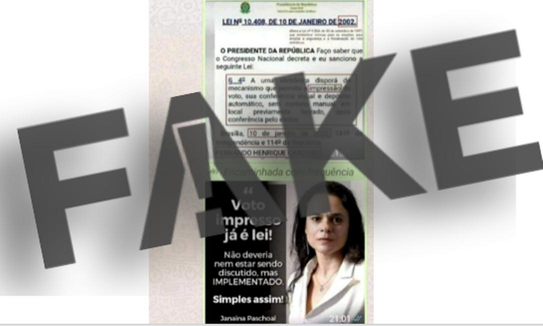 É #FAKE que existe uma lei em vigor que determina o voto impresso e que ela não é cumprida Foto: Reprodução