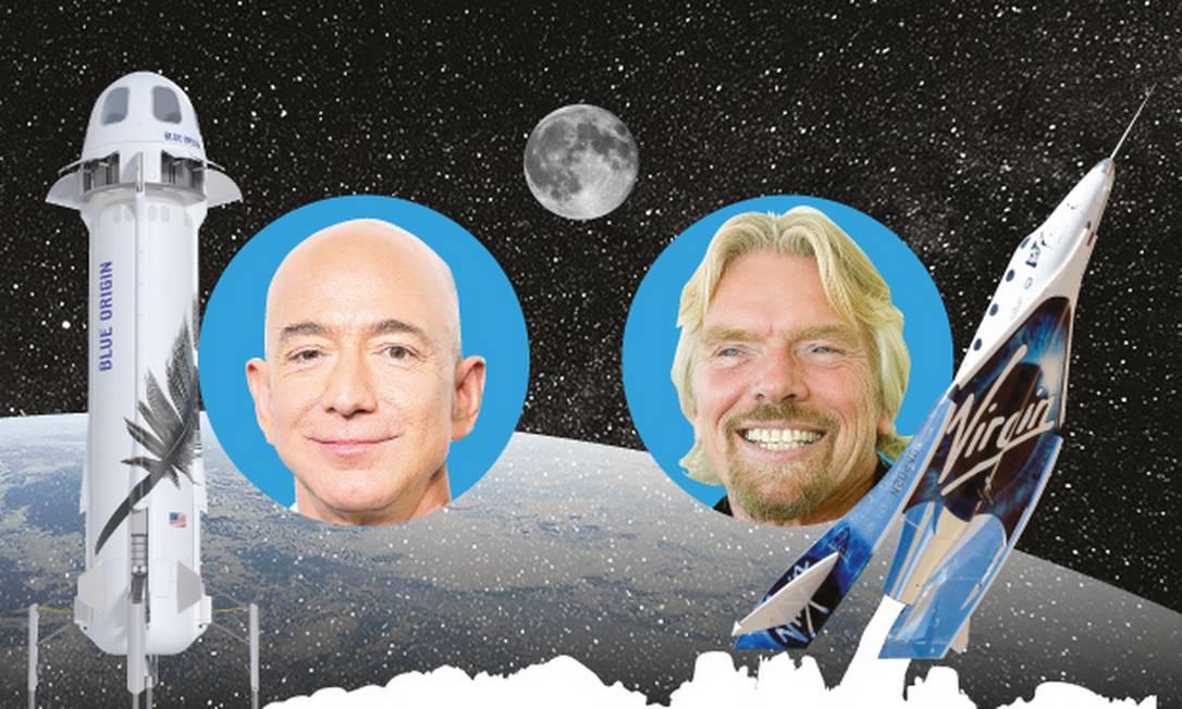 Os bilionários Jeff Bezos e Richard Branson, protagonistas da atual corrida espacial Foto: Editora de Arte / O GLOBO