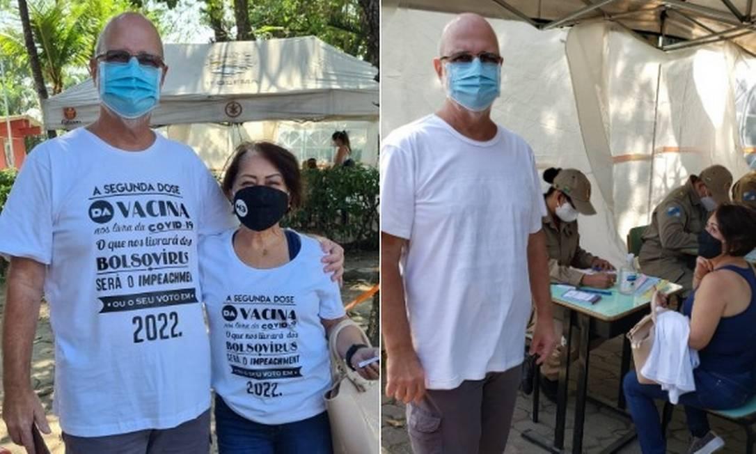 Casal conta que foi impedido de se vacinar usando camisa contra Bolsonaro Foto: Reprodução/Twitter