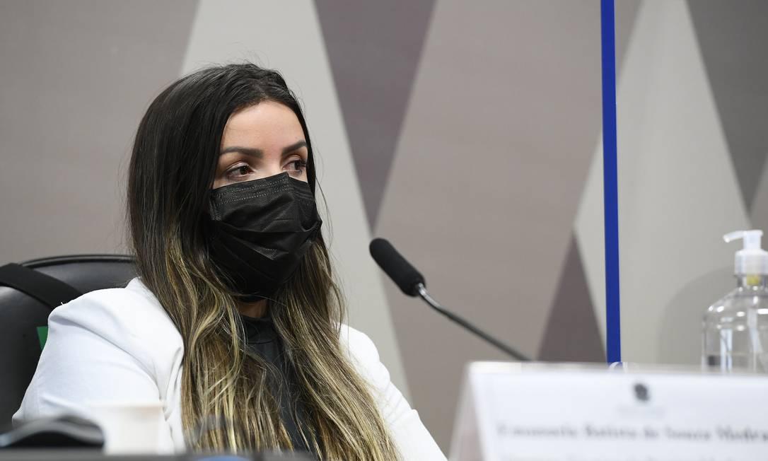 Emanuela Medrades depõe à CPI da Covid Foto: Marcos Oliveira / Marcos Oliveira/Agência Senado