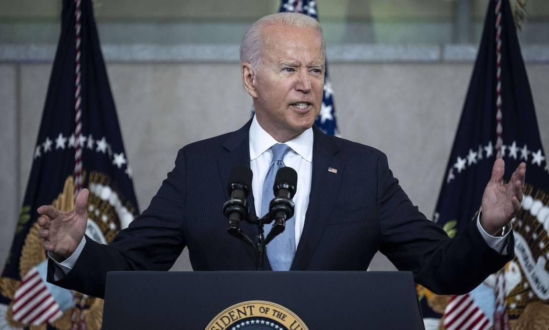 Joe Biden, presidente dos EUA, durante discurso contra a aprovação de leis de supressão eleitoral em estados republicanos Foto: Drew Angerer / AFP